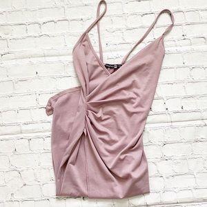 Boohoo Mauve Lucie Strappy Wrap Midi Dress